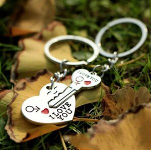 I LOVE YOU Letter Keychain Heart Key Ring Silvery Lovers Love Key Chain Souvenirs Valentine's Day gif ln K2334