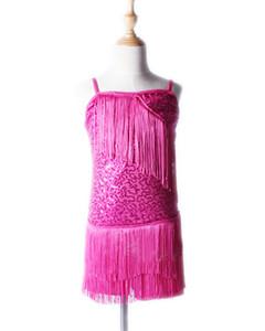 Mode sexy robe de danse latine pour les filles samba robes d'enfants cha cha pour les filles concurrence salle de bal costumes couleurs rouges