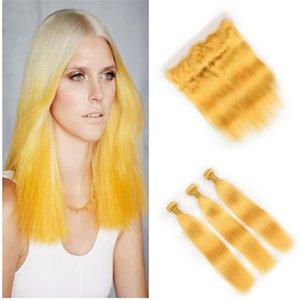 Tessuto per capelli umani Straight Yellow Color 3Pics Fasci di capelli gialli con chiusura frontale in pizzo e fasci di capelli lisci