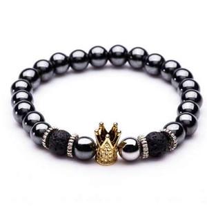 Pulseras de piedra natural del encanto Pulseras de oro de alta calidad GoldenBlack Crown Pulseras de Hematite de los hombres pulseras para hombres de las mujeres