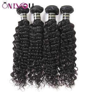 Onlyou Hair Products 4 Bundles Brésiliens Vague Profonde Vierge Extensions de Cheveux Humains Les Cheveux Remy Indiens Tissent Des Faisceaux Deep Wave Factory Deals