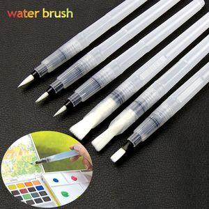 6Pcs / Set Water Brush Set 서예 용품 Art Painting Brush 평면 원형 대용량 수채화 브러시 펜