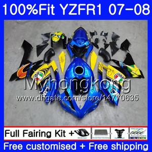 Inyección YZF para YAMAHA YZF R 1 YZF1000 1000 YZFR1 YZF-R1 08 227HM.0 Cuerpo Black Fairing R1 YZF-1000 07 07 2008 2007 Kit Blue Shark Eofkq