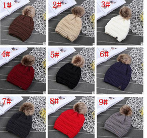 Зимняя зимняя трикотажная шляпа с полом Pom Casual Skullies Beanies Girls Теплые шапки для детских шапочек для наружной одежды KKA3780