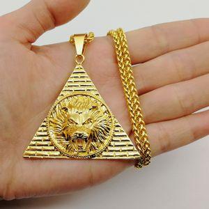 il trasporto libero stile di Hip Hop della testa del leone re leone Pendente egiziano piramide collana Incanta Animale Men Jewelry