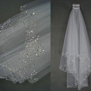 Düğün Gelin Veil 2 Katman El Kruvasan Boncuklu Gelin kenar Aksesuarlar Veil Beyaz ve Fildişi rengi