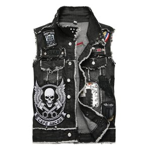 Classico Vintage uomo etichettatura stile bandiera stampa denim Vest Top senza maniche Jeans Jacket Slim gilet uomo abbigliamento US Taglia M-XXXL 888