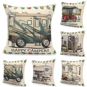 Camper Pillow Cover Colorful Pillow Case Happy Campers Fundas de cojín para el hogar Sofá Decoración Funda de almohada