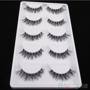 Latest 5 Pairs Lot Black Natural Cross Fake False Eyelash Soft Long Makeup Eye Lash Extension 5K8W