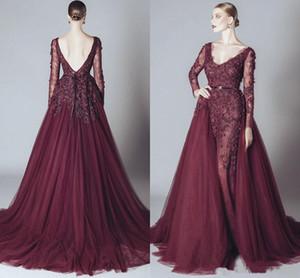 Elegante Backless Burgund Spitze Formale Promi-Abendkleider V-Ausschnitt Lange Ärmel 2019 ELIE SAAB Naher Osten Arabische Prom Party Kleider billig