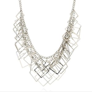 designer jewelry necklace for women square muiltlayer geometry wholesale simple necklace hot fashion free of shipping