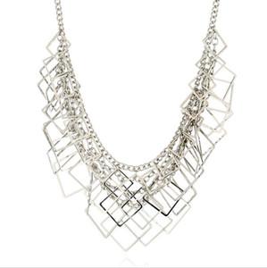 colar de jóias para as mulheres quadrado geometria muiltlayer atacado simples colar de moda quente gratuitos de transporte