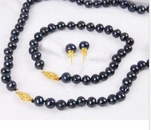 7-8 мм черный подлинной природных Akoya культивированный жемчуг ожерелье браслет серьги набор