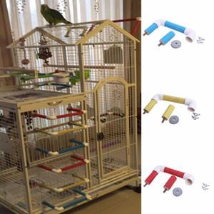 Pet Bird Pappagallo Gabbia Perch Stand Platform Paw Rettifica Masticare Masticare Giocattoli Rosso / Giallo / Blu spedizione gratuita
