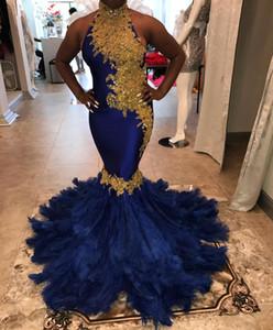 Sexy oro pizzo sirena piuma prom dresses 2020 collo alto backless plus size royal blue nero ragazze spettacolo formale festa di laurea abiti