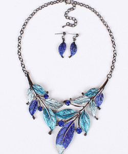 New Europe Vintage Party Casual Jewelry Set Women's Colorful Drop Glaze Leaves Necklaces With Earrings S99