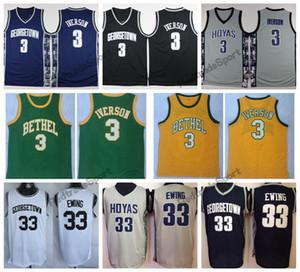 Vintage Georgetown Hoyas Allen Iverson # 3 College Basketball Jerseys Patrick Ewing 33 Allen Iverson Green Bethel High School genäht Hemden