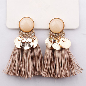 Bohemian Sequins Tassel Earrings for Women Wedding Party Acrylic  Statement Drop Earrings Long Vintage Fringing Jewelry