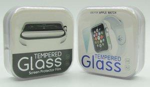 Para Apple iwatch 4 Protector de pantalla 3D Vidrio templado curvo completo 38mm 42mm Serie 1/2/3 Protector antirrayas con caja de cristal