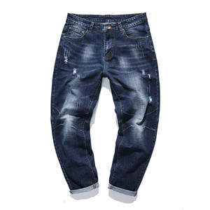 Men Jeans Loose Stretch Retro Washed Men Harem Pants Casual Solid Pleated Distressed Mens Denim Jeans Vintage Slim