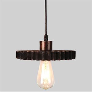 Nordic Retro Pendant Lamps E27 Iron Wood Loft Chandelier Gear Luz de interior Internal Industrial Hemp Rope Lights