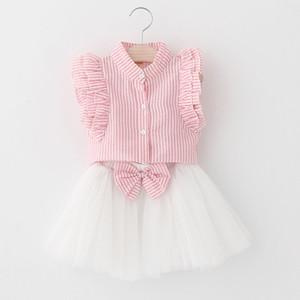 Розничная лето девушки Одежда наборы Flare рукавом Stripe Shirt + лук марли юбка из двух частей моды Наряды Детская одежда AZ856