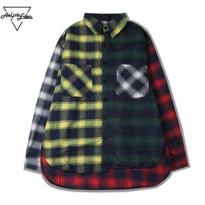 Оптово-Aelfric Eden Мужские повседневные рубашки Цвет блока Лоскутная клетчатая рубашка с длинным рукавом Хип-хоп Пальто Рубашка в клетку Мужская классическая рубашка SNL790
