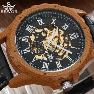 Top reloj mecánico automático del reloj de los hombres Caso de madera esqueleto de moda de cuero Relojes Negro Masculino Relógio