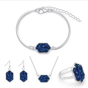 Овальные Druzy Drusy ожерелье серьги браслет кольца комплект ювелирных изделий с шестигранной ожерелье мотаться Подвески уха венчания женщин