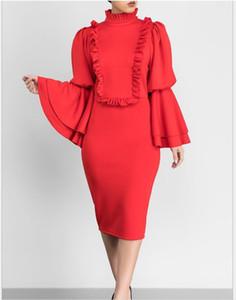 L0169 femmes automne et hiver robe 2018 vente chaude mode européenne et américaine sexy en bois oreille trompette manches robe crayon femelle