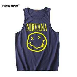 Flevans Fashion Mens Canotta Casual Fitness Canottiere di marca Abbigliamento senza maniche Hip Hop Vest Nirvana Stampa Cotton Undershirt