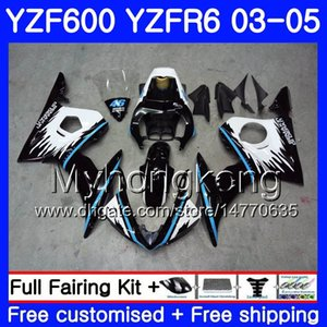 هيكل YAMAHA YZF600 YZF R6 03 04 05 YZFR6 03 هيكل السيارة 228HM.1 YZF 600 R 6 YZF-600 YZF-R6 إطار أزرق أسود جديد 2003 2004 2005 Fairings Kit