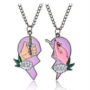 Emaille Best Buds Zigaretten Feuerzeug Halskette Emaille Puzzle Gebrochenes Herz Anhänger Paar Halskette Modeschmuck für Frauen MOQ 20 Sätze