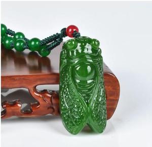 Collana a ciondolo in giada verde naturale intagliata al 100% con giada verde