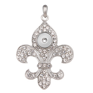 Noosa Ginger Snap Butterfly Knot Design Pendant Necklace Fitted Rhinestone Zinc Alloy Mental Snap Jewelry 2 Colors