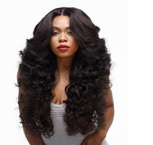 Мода волнистые стиль волос черный бразильский парик волна тела жаропрочных синтетических кружева перед парики женщин волос нет кружева парики FZP89
