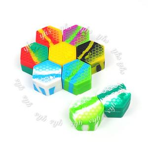 Rich Color Hexágono Recipiente de Silicone Recipiente Recipiente Recipiente de Silicone para Crumble de Óleo de Cera de Mel Silicone Jars Dab