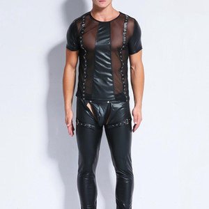 Uomini Sexy Faux Leather Mesh T Shirts Maschile Moda Magliette Uomo Nero Tees Tight Shirts Gay Funny Corset Dancewear