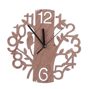 3D Digital Wooden Wall Clock Hollow Circular Tree Wall Clock Wooden Ornaments Simple European Style Home Decor