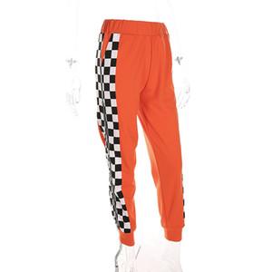 유럽 귀족 여성의 높은 품질의 바지 캐주얼 바지 오렌지 패치 워크는 높은 탄성 허리 밴드 지퍼 바지를 인쇄 격자 무늬