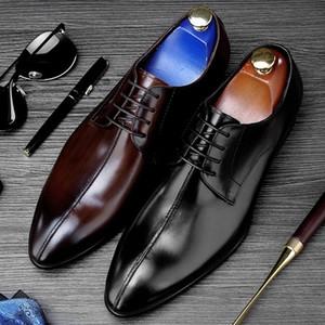 New Vintage Italian Designer Pointed Toe Man Formal Dress Shoes Vintage Genuine Leather Handmade Men's Derby Wedding Flats