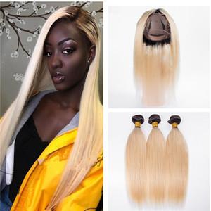 İki Ton 1b 613 Saç 360 Dantel Kapatma Brezilyalı Virgin Saç Ombre Blonde Paketler İpek Düz İnsan Saç 360 ile örgüleri