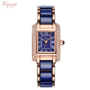 Kimio Femme Chiffres Romains Strass montres Mode Dames Cristal Horloge Noire Céramique Or De Luxe Montre Diamant Étanche C18111301
