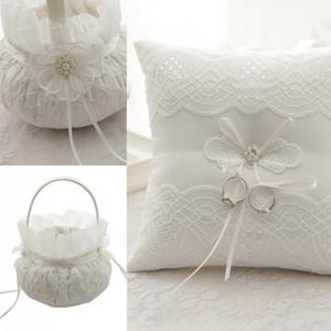 Cestas de encaje anillo portador almohada Almohada del anillo de flores Establece almohada boda ceremonia de la torta de perlas flor anillo de la novia caja de envío gratis
