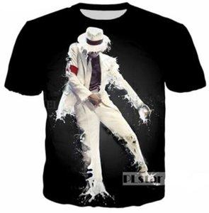 Yeni Moda Çiftler Erkekler / Kadınlar Unisex Michael Jackson Komik 3D Baskı Hiçbir Kap Rahat T-Shirt Tee Üst Toptan QW89