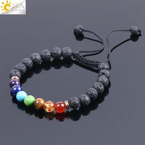 CSJA Chakra Lava Stone Bracelet with Colored Stones Black Natural Gemstone Round Beads Adjustable Braided Rope Men Charm Yoga Bracelets F094