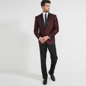 Burgundy Men Suits on-line ternos feitos sob encomenda de casamento feito Preto xaile lapela clássico Noivo Smoking Slim Fit Groomsmen Wear Melhores Blazers Man 2 peça