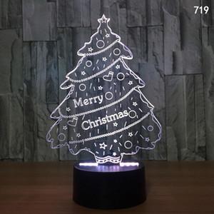 Noel Gecesi Işık Akrilik Dokunmatik USB Renkli 3D LED Noel Baba Noel Ağacı Kardan Adam Uzaktan Kumanda Görsel Masa Lambası
