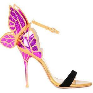 2018 Sophia Webster Evangeline Angel Wing Sandal Plus Size 42 Genuine leather Wedding Pumps Pink Glitter Shoes Women Butterfly Sandals Shoes