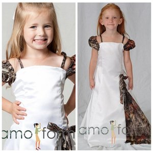 Cute Camo Off Shoulder Camo Floor Length Long Flower Girls Dresses Camouflage Customized Girl Party Gowns Birthday Wear Cheap